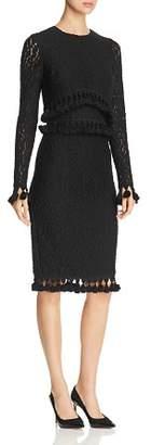 Badgley Mischka Tasseled Lace Dress
