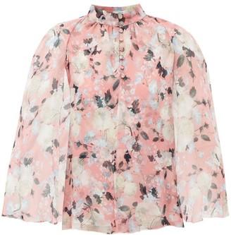 Erdem Carvella Cape Sleeve Floral Print Silk Blouse - Womens - Pink Print