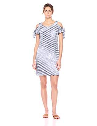 MSK Women's Cold Shoulder Dress with Sleeve Ties and Swiss dot Pattern