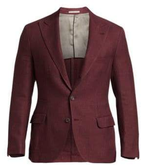 Brunello Cucinelli Solid Hopsack Wool, Silk& Linen Peak Lapel Blazer