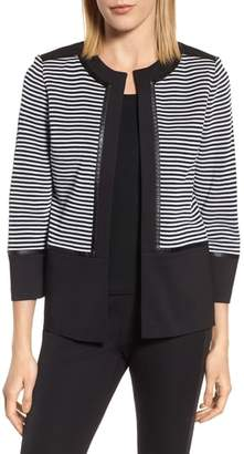 Ming Wang Faux Leather Trim Stripe Knit Jacket