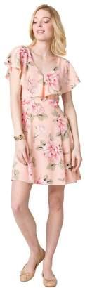 Le Château Women's Floral Print Ruffle Dress,S,Pink/White
