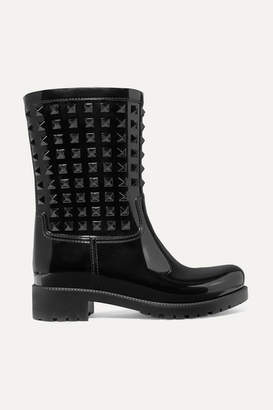 Valentino Garavani The Rockstud Glossed-rubber Rain Boots - Black