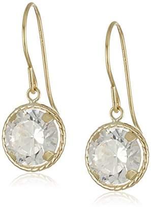 14k Yellow Gold Martini Set Cubic Zirconia Dangle Earrings