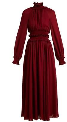 Giambattista Valli High Ruffle Neck Dress - Womens - Burgundy