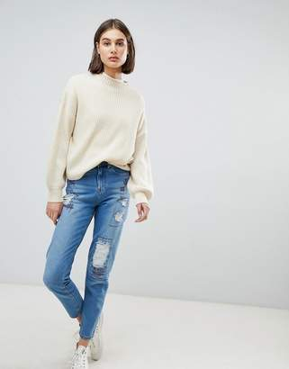 WÅVEN Elsa Embroidered Stressed Mom Jeans