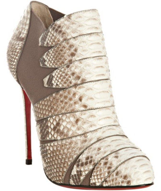 Christian Louboutin stone python 'Lina 100' banded ankle booties