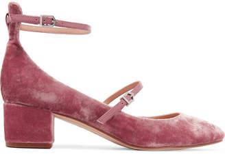 Sam Edelman - Lulie Leather-trimmed Velvet Pumps - Antique rose $110 thestylecure.com
