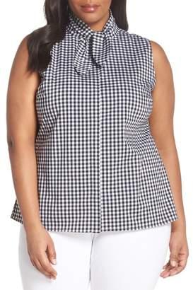Sejour Tie Collar Cotton Blend Top (Plus Size)