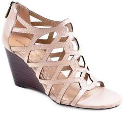Adrienne Vittadini Alby Leather Caged Wedge Sandals