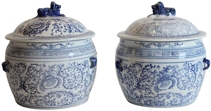 One Kings Lane Vintage Blue & White Ginger Jars - Set of 2