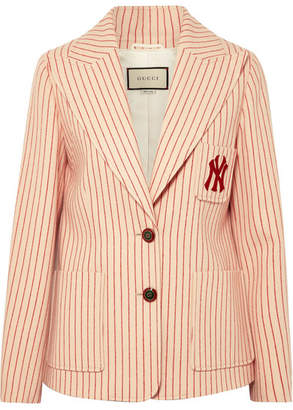 Gucci + New York Yankees Embroidered Striped Wool Blazer - Beige