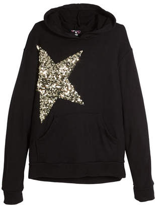 Flowers by Zoe Long-Sleeve Hoodie w/ Sequin Star, Size S-XL