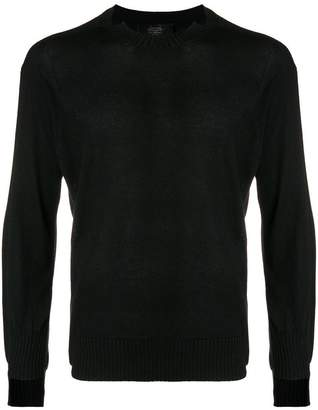 Maison Flaneur notched collar crew neck sweater