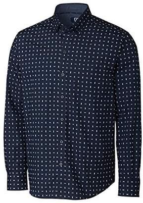 Cutter & Buck Men's Long Sleeve Non-Iron Fisher Print Button Down Collared Shirt
