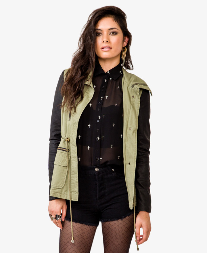 Forever 21 Faux Leather Sleeve Anorak