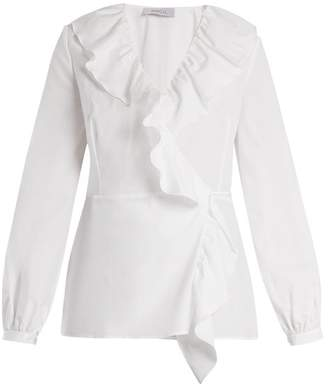 Racil - Wilt Ruffle Trimmed Cotton Wrap Top - Womens - White