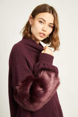 French Connenction Normie Faux Fur Knit High Neck Jumper