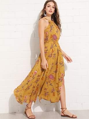 Shein Elastic Waist Halter Neck Floral Dress