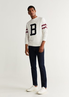 MANGO MAN - Embroidered varsity sweatshirt off white - XS - Men