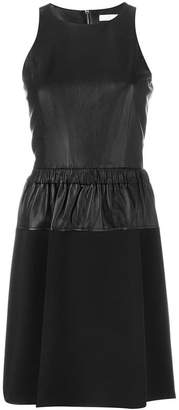 MICHAEL Michael Kors leather panel flared dress
