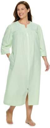Miss Elaine Plus Size Essentials Long Seersucker Zip Robe