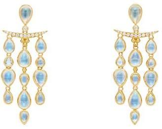 Temple St. Clair 18K Yellow Gold Seta Moon Blue Moonstone & Diamond Fringe Earrings