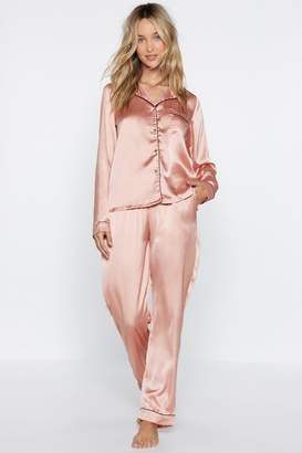 Nasty Gal Satin Chilling Out Top and Pants Pajama Set