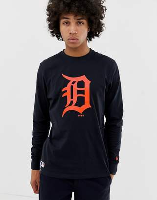 New Era MLB Detroit Tigers Long Sleeve T-Shirt With Chest Logo In Navy