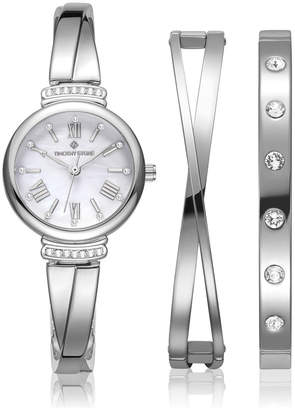 Timothy Stone Women's 'Legato' Crystal Accented Roman Numeral Dainty Watch and Bracelet Gift Set