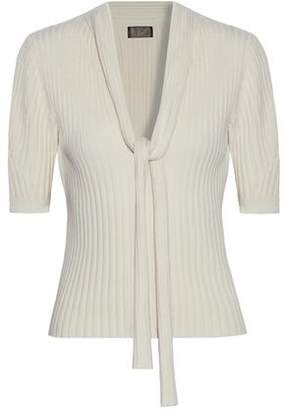 Giambattista Valli Pussy-Bow Ribbed Wool Silk And Cashmere-Blend Sweater