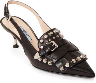 Prada Black Studded Kiltie Slingback Leather Pumps