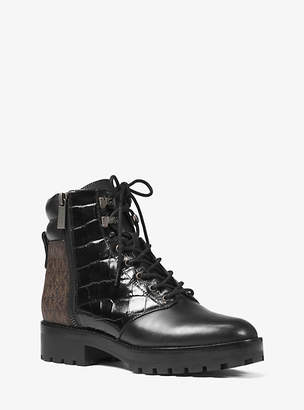 Michael Kors Rosario Leather And Logo Combat Boot