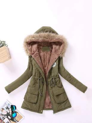 Shein Faux Fur Lined Parka Coat