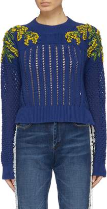 Sonia Rykiel Mimosa floral embellished mixed knit sweater