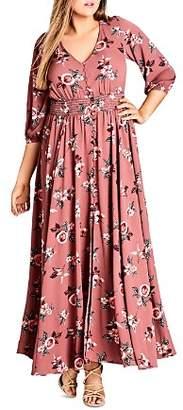 City Chic Plus Rose-Print Maxi Dress