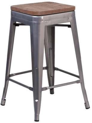 "clear Flash Furniture 24"" High Backless Coated Metal Counter Height Stool with Square Wood Seat"