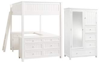 Pottery Barn Teen Beadboard Loft Bed & Chiffonier Set, Full, Simply White