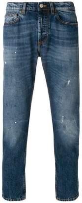 Mauro Grifoni splattered stonewash slim jeans