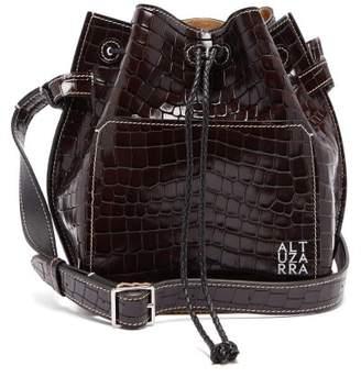 Altuzarra Espadrille Crocodille Effect Leather Bucket Bag - Womens - Dark Brown