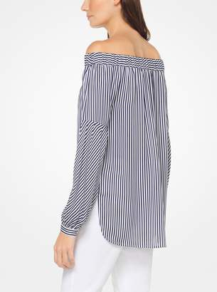 MICHAEL Michael Kors Striped Silk-Georgette Off-the-Shoulder Top