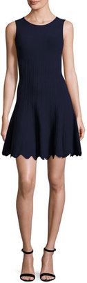 Alice + Olivia Paulie Pintucked Scalloped Fit-&-Flare Dress $375 thestylecure.com