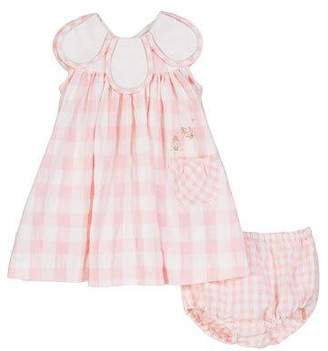 Luli & Me Gingham Petal-Collar Dress w/ Matching Bloomers, Size 3-24 Months