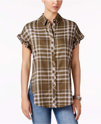 Buffalo David Bitton Markus Plaid Ruffle-Cuff Shirt $49 thestylecure.com