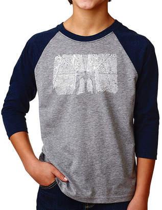LOS ANGELES POP ART Los Angeles Pop Art Boy's Raglan Baseball Word Art T-shirt - Brooklyn Bridge