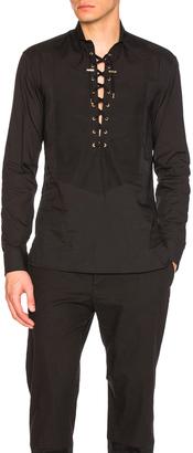 BALMAIN Lace Up Shirt $890 thestylecure.com