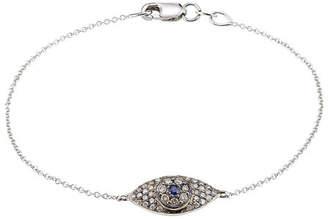 Ileana Makri 18K White Gold Wisdom Bracelet with Diamonds and Sapphires