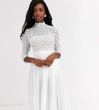 Little Mistress Tall midi length 3/4 sleeve lace dress in white