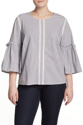 Susina Striped Bell Sleeve Blouse (Plus Size)