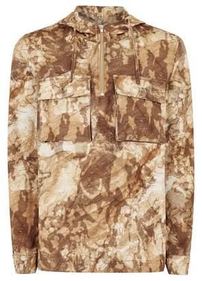 Topman Mens Beige Stone Camouflage Long Sleeve Overshirt